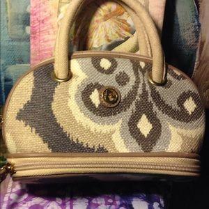 Spartina makeup bag purse Indian design leather